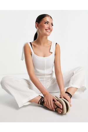 Billabong Muži Overaly dlouhé - On The Road tie up jumpsuit in white