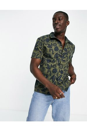 New Era Co-ord revere shirt with in green with navy floral print-Multi