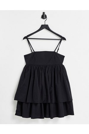 ASOS Bandeau double layer tie back mini sundress with detachable straps in black