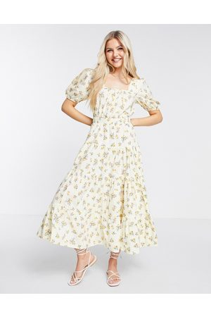 ASOS DESIGN Cotton tiered maxi skater dress with cross back in ditsy floral print-Multi