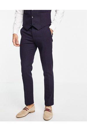 ASOS DESIGN Muži Společenské - Wedding super skinny wool mix suit trousers with navy grid check