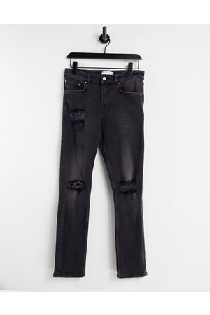 ASOS Muži Slim - Stretch slim jeans with rips in washed black