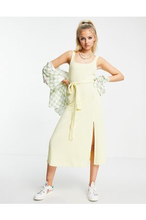 ASOS Strappy maxi with belt in pastel yellow spacedye