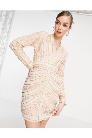 ASOS Ženy Na párty - Ruched and embellished plunge mini dress with long sleeves-Pink