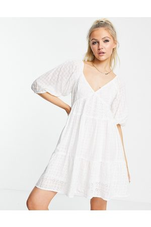ASOS Mixed broderie tiered mini babydoll dress in white