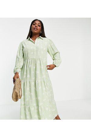 ASOS Curve ASOS DESIGN Curve maxi shirt dress with pintucks in gingham print-Multi