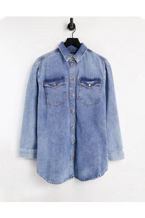River Island Ženy Džínové košile - Bleached denim overshirt in buzzy blue