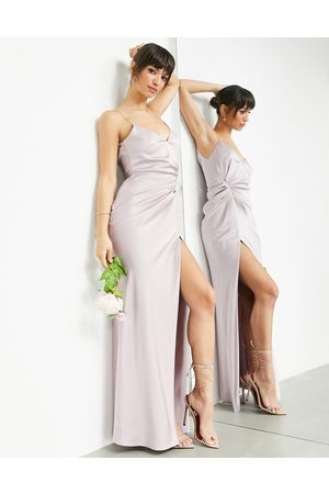 ASOS Ženy Maxi - Satin cami maxi dress with drape detail in pale lavender-Purple