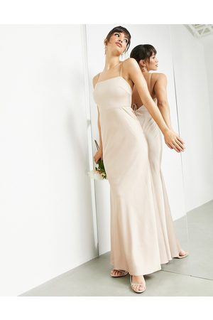 ASOS Satin square neck maxi dress with tie back in caramel-Neutral
