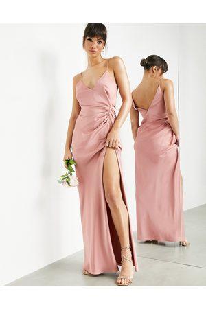 ASOS Ženy Maxi - Satin cami maxi dress with drape detail in dusky rose-Pink