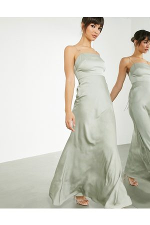 ASOS EDITION Ženy Maxi - Satin square neck maxi dress with tie back in sage green