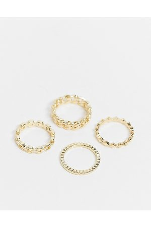 Pieces Ženy Prstýnky - 4 pack chain rings in gold