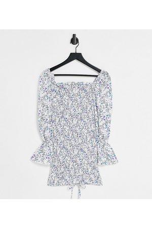 Parisian Petite Ženy Přiléhavé - Tie front bodycon dress in floral print-Blue