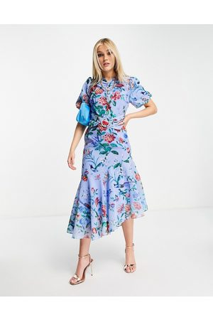 HOPE & IVY Puff sleeve asymmetric belted midi dress with poppy print in bright blue