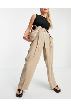 MANGO Wide leg tailored trouser co-ord in camel-Neutral