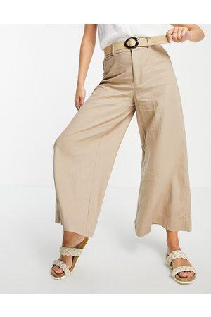 MANGO Ženy Společenské - Wide leg cropped tailored trouser in light beige-Neutral