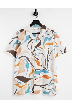 ASOS Relaxed revere linen mix shirt in abstract print-White