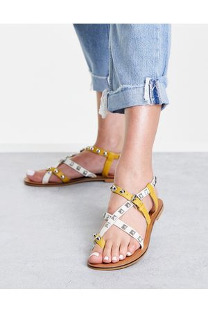 ASOS Fairground studded leather sandals in white