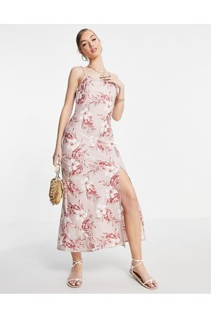 ASOS Ženy S potiskem - Linen cami maxi dress in pink tropical print-Multi