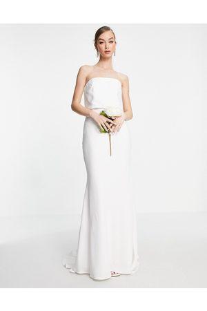 ASOS Ženy Na párty - Evelyn satin bandeau wedding dress-White