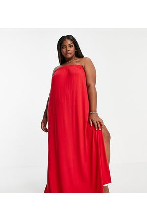 ASOS Curve bandeau maxi sundress with pockets in red