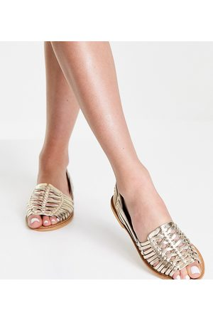 ASOS Wide Fit Florentine woven leather sandals in gold