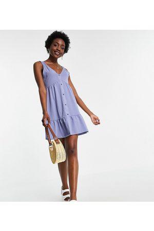 ASOS Tall ASOS DESIGN Tall button through smock dress in dusty blue