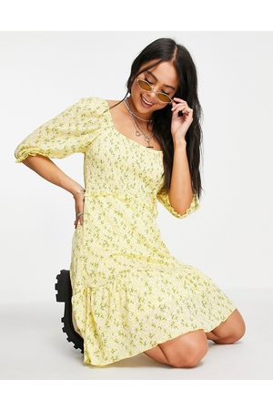 ONLY Mini smock dress with puff sleeve in yellow ditsy floral-Multi
