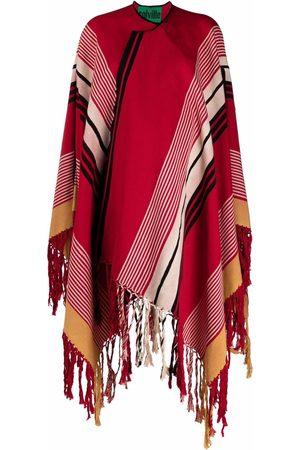 Colville Ženy Pončové kabáty - Stripe-print fringed cape