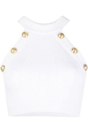 Balmain Button-detail halterneck top