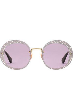 Gucci Crystal-embellished round-frame sunglasses