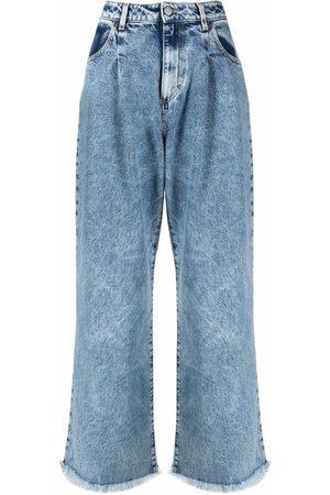 Icon Denim Ženy Široké nohavice - Distressed-effect wide-leg denim jeans