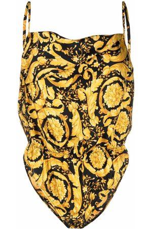 VERSACE Barocco-print silk bodysuit