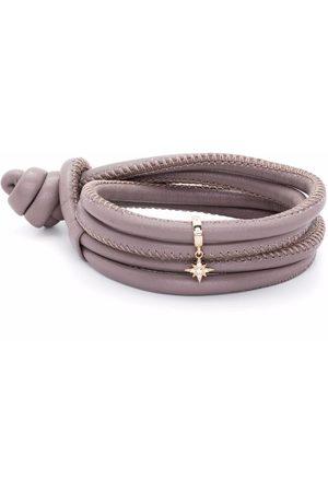 Mizuki Ženy Náramky - 14kt yellow gold diamond star charm leather bracelet
