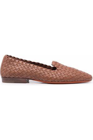 santoni Woven almond-toe slippers