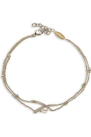Yoko London 18kt yellow gold Sleek Akoya pearl and diamond bracelet