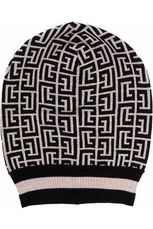 Balmain Monogram merino-knitted hat