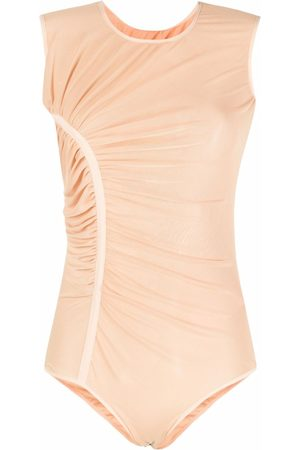 LOULOU Ruched mesh bodysuit