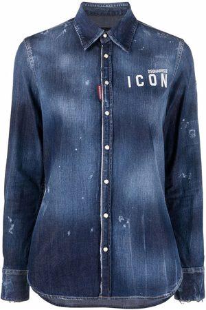 Dsquared2 Embroidered-logo washe denim shirt