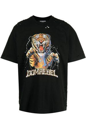 DOMREBEL Muži S krátkým rukávem - Distressed tiger logo-print T-shirt
