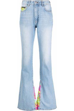 Philipp Plein Floral insert flared jeans