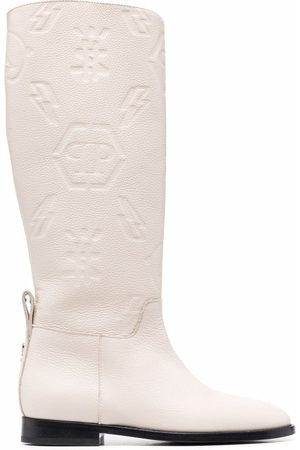 Philipp Plein Ženy Nad kolena - Embossed-logo knee-high boots