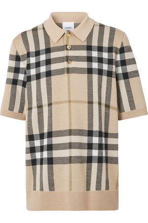 Burberry Muži S límečkem - Check jacquard knitted polo shirt