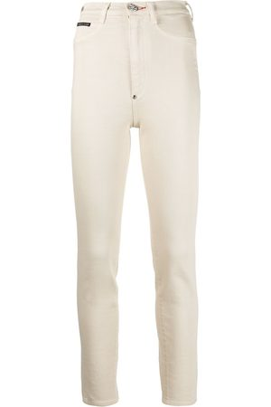 Philipp Plein Logo patch high-waisted jeggings