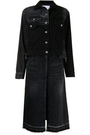 SACAI Ženy Džínové bundy - Patchwork denim skirt jacket