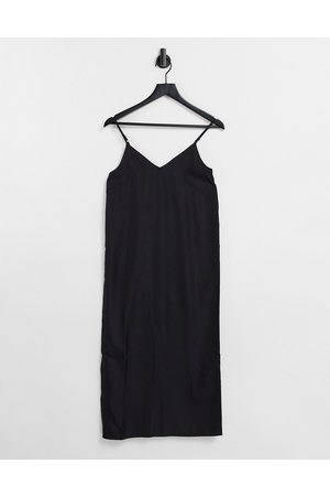 ASOS V neck midi slip dress in black