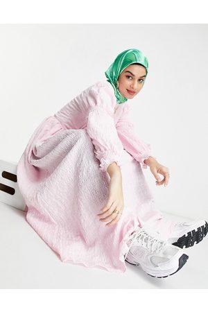 ASOS Textured button through maxi tea dress-Pink