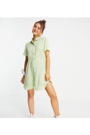 Pieces Ženy Volnočasové - Exclusive mini shirt dress in mint ditsy floral-Multi