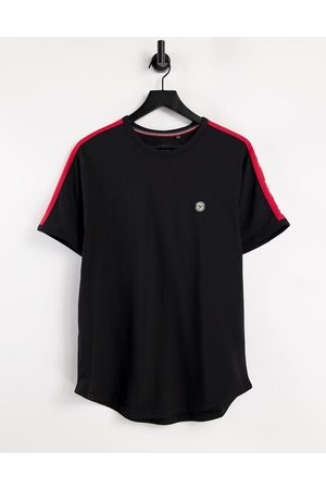 Le Breve Lounge co-ord t-shirt in black with red tape