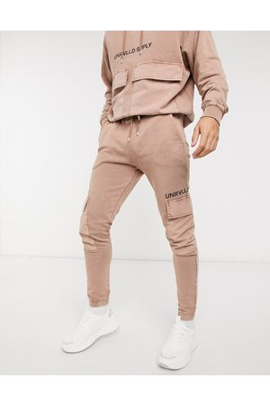 ASOS Co-ord oversized joggers in washed tan with printed logo